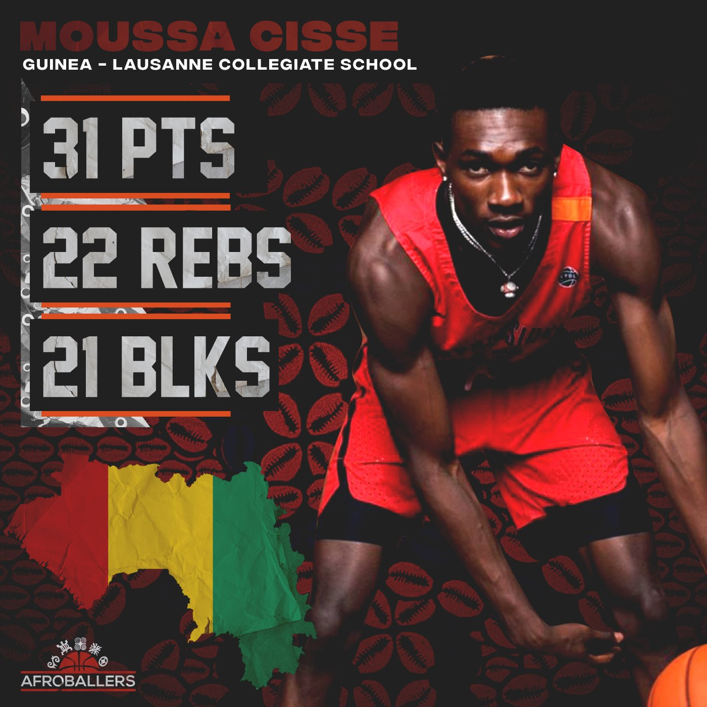 Moussa Cisse blocked 21 shots in 1 game! – Afroballers